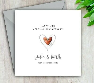 7th Wedding Anniversary.Personalised Handmade 7th Wedding Anniversary Card Copper Mum Dad Husband Wife