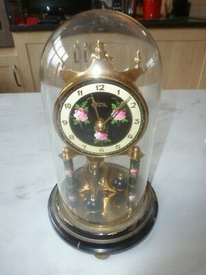 KOMA  - Black With red Roses Pattern - Anniversary Clock With Glass Dome