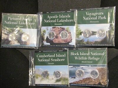 Coins Of America Complete 2018 Year Set P & D Sealed National Park Quarters Sets
