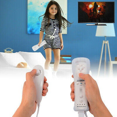 White Motion Plus Remote Nunchuck Controller for Nintendo Wii U Video Game AC650