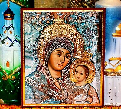 Holy Mother of God of Bethlehem Russian Orthodox icon Silver Gold embossed