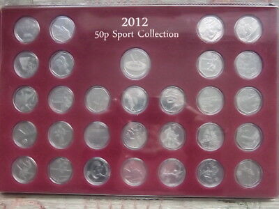 Full set (30) London 2012 Olympic 50p coins cased+Royal Mint Medallion completer
