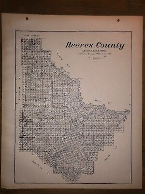 1915 Reeves County Texas Map Land Office Austin Blue Line Antique Vintage