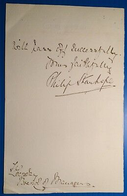 Stanhope - Baron Weardale - 1899 letter: can't welcome Duchess of Sutherland