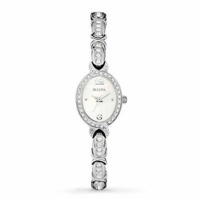 Bulova 96L199 Women's MOP Dial Silver-Tone Swarovski Crystal Dress Watch