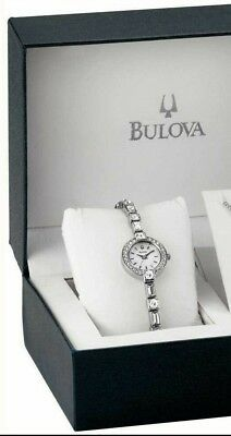 Bulova 96X113 Women's White Dial Silver-Tone Stainless Steel Crystal Dress Watch