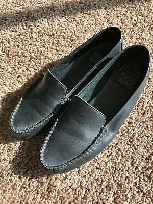 4e82a392186 Vintage Penny Loafers Shoes Leather Black Womens 7 8 8.5 Mootsies Tootsies  60s