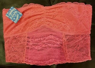c8ec24f142db2 Intimately Free People Bandeau Lace Strapless Bralette Hot Pink Galloon  Size M