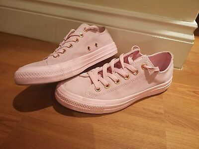 e06b2405eb12 All Star Converse Chuck Taylor Pink Suede With Rose Gold Trainers UK Size 5