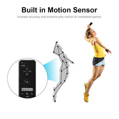 Black Motion Plus Remote Nunchuck Controller for Nintendo Wii Video Game AC618