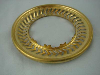 "New Old Stock, A Brass Duplex Burner 4"" Shade Gallery Ring, Pierced Detail"