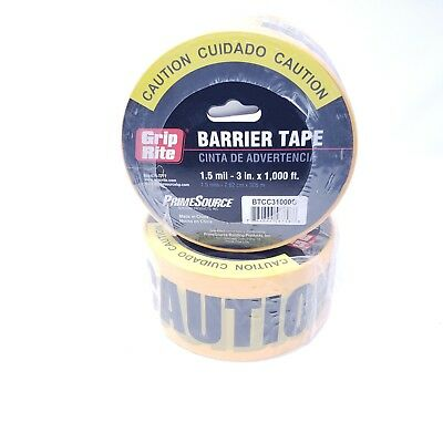 """24 Rolls Yellow CAUTION CUIDADO Barrier Tape 1.5 MIL 3""""X1000' Grip Rite Safety"""