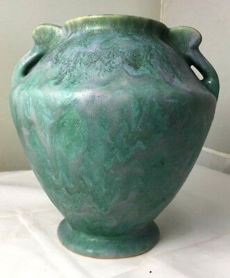 ROSEVILLE POTTERY CARNELIAN II BLUE-GREEN / VIOLET MIX DRIP VASE #331-7- Ca 1926