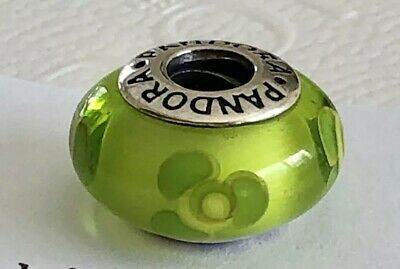 f3c480d78 Authentic Pandora Lime Green Flowers For You Murano Bead #790648 Retired