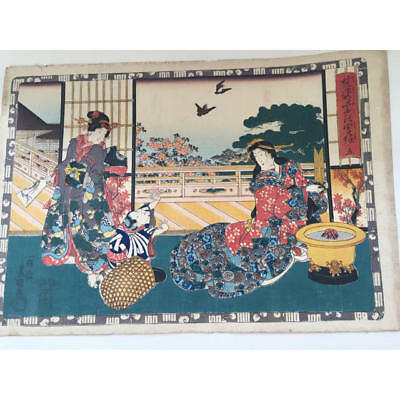Japanese Antique Ukiyoe Toyokuni woodblock print EDO Era Rare # 6