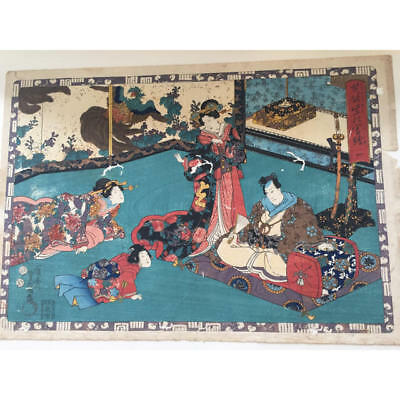 Japanese Antique Ukiyoe Toyokuni woodblock print EDO Era Rare # 8