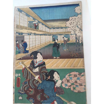 Japanese Antique Ukiyoe Toyokuni woodblock print EDO Era Rare # 10