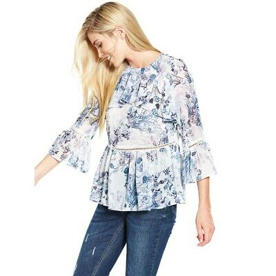 V by Very Blue Floral Frill Front Casual Smart Blouse Top 12 NEW £38