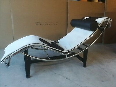 Chaise longue in pony bianco marrone Made in Italy