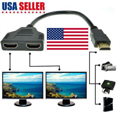 1080P HDMI Port Male to 2Female 1 In 2 Out Splitter Cable Adapter Converter  OJ
