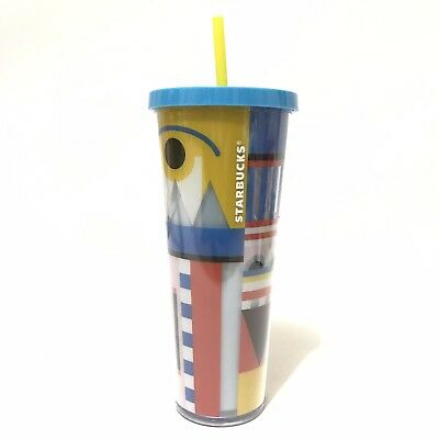 Starbucks Cup Venti 24 oz New Lid Straw Cold Drink Reusable Eye Line Blue Yellow