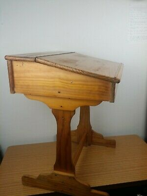 Vintage solid wood school desk with hinge lid compartment
