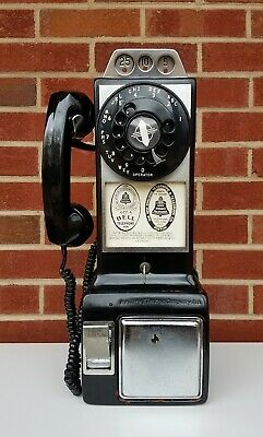 Vintage WESTERN ELECTRIC COMPANY Inc 3 Slot Rotary Pay Phone manuf. In Chicago