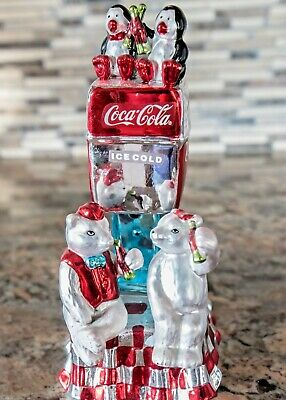Coca-Cola Musical Polar Bears Table Top Collection Mercury Glass ~ New In Box