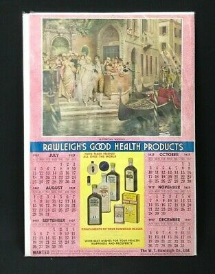 1937 Aus 6 Month Rawleigh's Advertising Health Products Calendar Loosely Mounted