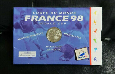 1998 One Franc Silver Coin & Official Badge - World Cup France - Limited Issue