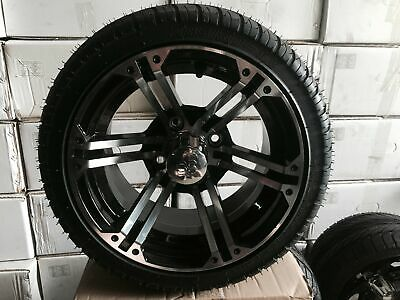 """Buy Direct and save on these 12"""" Black and Chrome Golf Cart Wheels"""