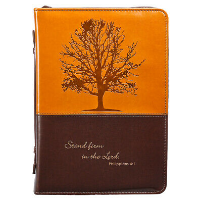 Stand Firm in the Lord in Brown Philippians 4:1 Bible Cover, Size Medium