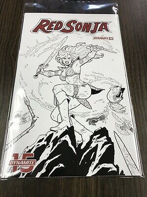 Red Sonja #1 Amanda Conner 1:20 Black And White Incentive Cover Dynamite (2019)