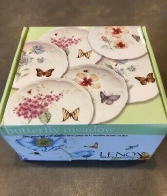 New Set of 6 Lenox Butterfly Meadow Party Plates, Butterfly Floral Boxed