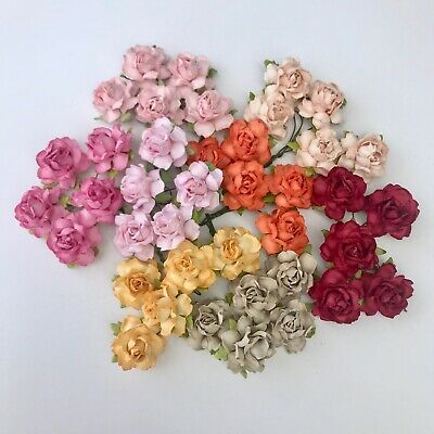 5 English Roses Mulberry Paper Flowers Embellishment Scrapbooking, Card Making