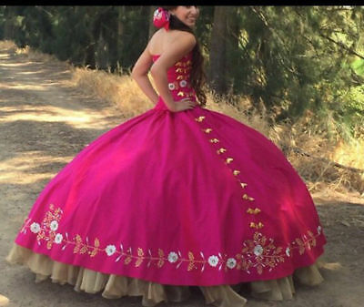 b204d8bac09 Red Gold Embroidery Debutante Ball Gown Quinceanera Dresses Masquerade Dress