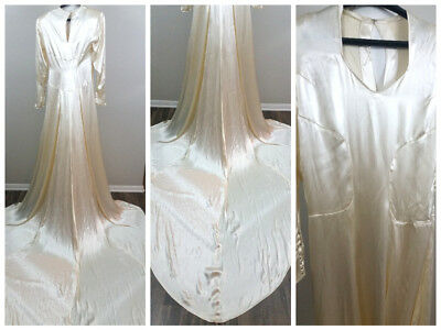 Vtg 40s Creme Elegant Silk Satin 💖 Wedding Bridal Formal Dress Chapel Train 32