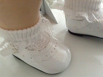 "White Doll Shoes & White lace trim socks for 22"" Saucy Walker or Pedigree Doll"