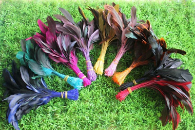 10pcs 13-20cm Stripped Rooster Coque Feathers 6 Colours DIY Craft Millinery