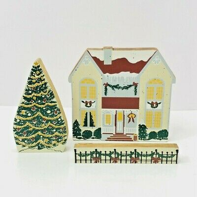 Victorian Christmas House Rustic Decor Wood Hand Made Craft Home Tree Fence