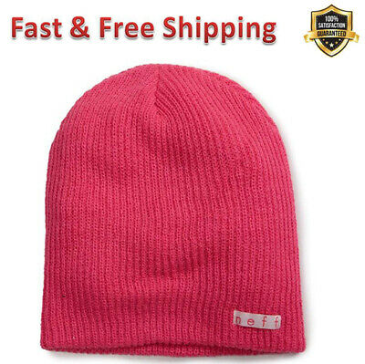 6e97f666efb7 Daily Beanie Hat Magenta Acrylic Comfortable Ribbed Knit Neff Logo for Men  Women