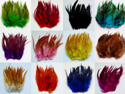 20pcs 10-15cm Rooster Feathers 19 Colour Choice DIY Craft Millinery Fly tying