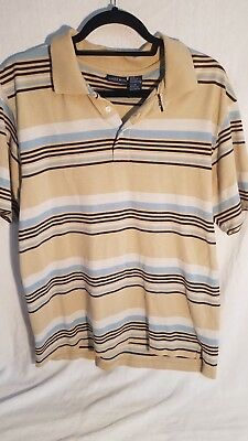 Vintage Bugle Boy Mens Polo Shirt Mens M Retro striped Blue, tan white