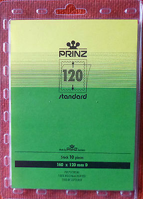 PRINZ Standard STAMP MOUNTS 120mm CLEAR Backing Pack of 10 Block 160mm x 120mm D