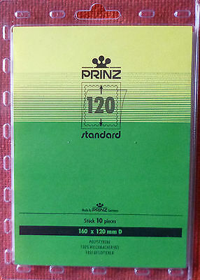 PRINZ Standard STAMP MOUNTS 120mm BLACK Backing Pack of 10 Block 160mm x 120mm D