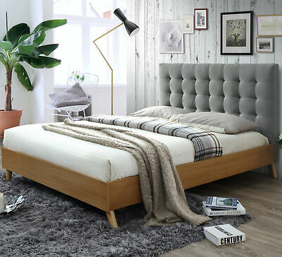 NEW Light Grey & Oak Alyxia Queen Bed - VIC Furniture,Beds
