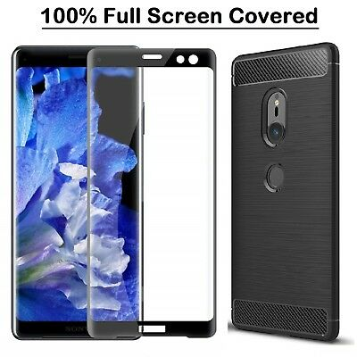 For Sony Xperia XZ3 Case Carbon Cover + 3D Curve Full Glass Screen Protector XZ3
