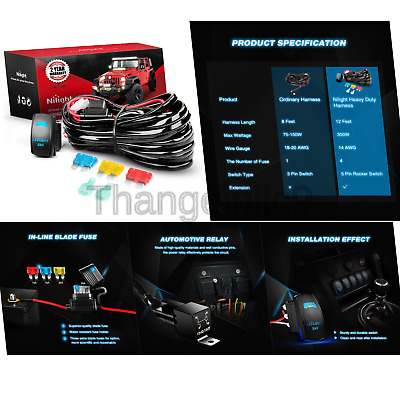 Marvelous Nilight 10014W Led Light Bar Wiring Harness Kit 14Awg Heavy Duty 12V Wiring Cloud Oideiuggs Outletorg