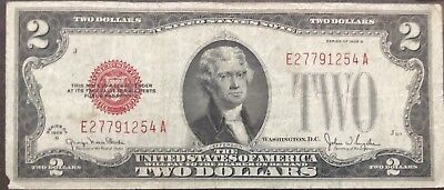 USA 2 Dollar 1928 G United States Note Red Seal Banknote Schein Two  #11984