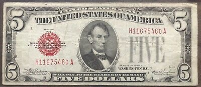 USA 5 Dollar 1928 E United States Note Red Seal Banknote Schein Five $5 #11994